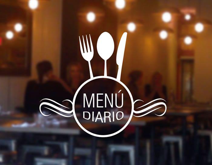 promocionar servicio de menú diario con vinilos adhesivos en puertas, vidrieras y ventanas