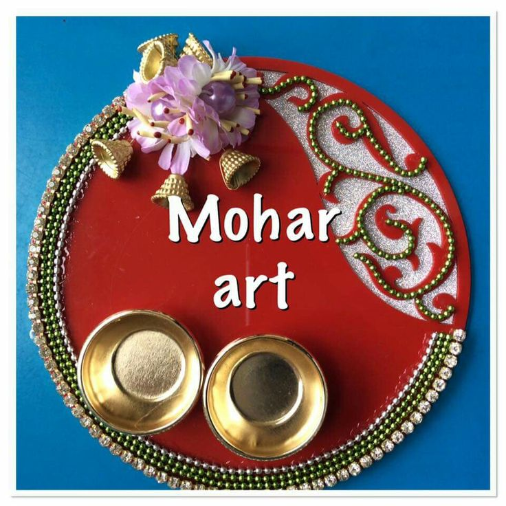 The 356 best images about pooja thali on pinterest henna for Aarti thali decoration with clay
