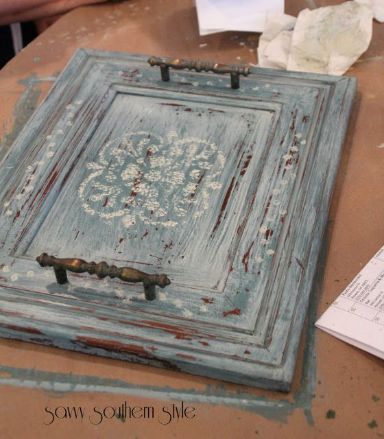 Cabinet Door turned serving tray... Savvy Southern Style Blog