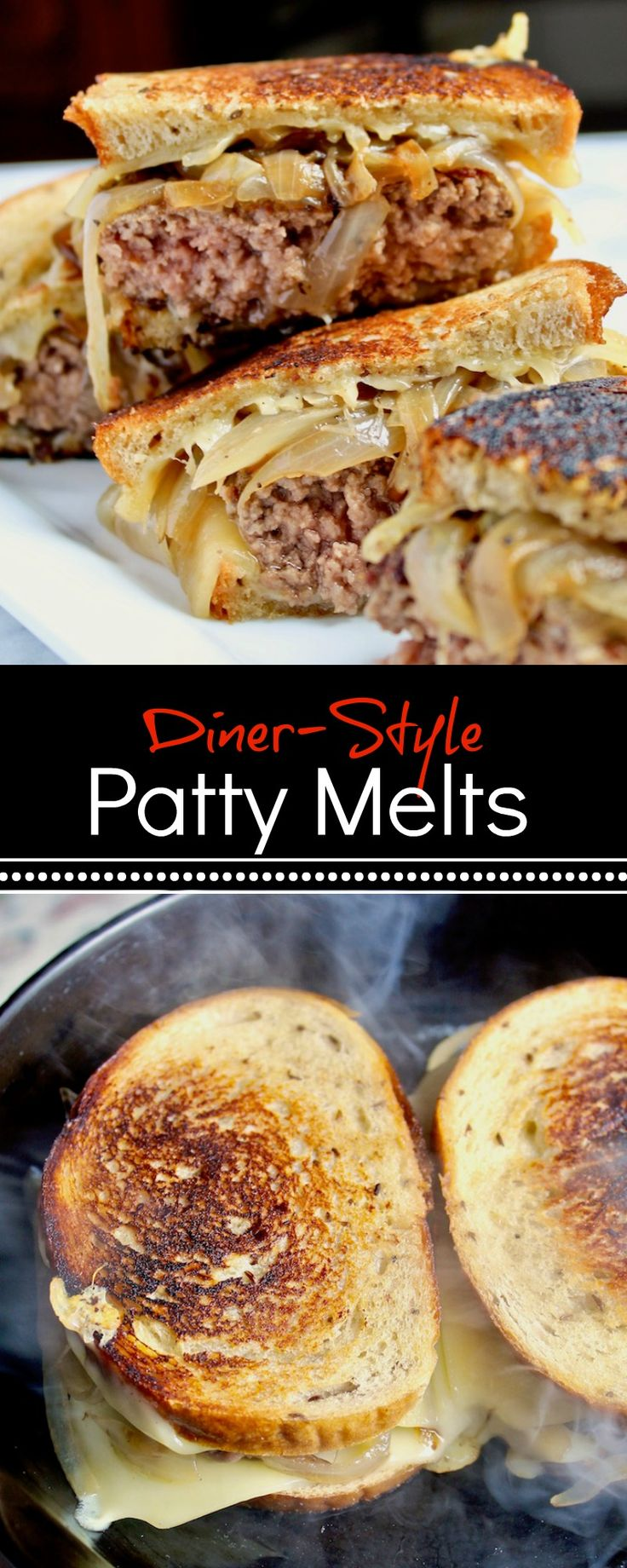 Classic diner-style patty melts at home.  Beef patties grilled on rye bread with Swiss cheese and caramelized onions. #pattymelts #burgers #dinner #comfortfood