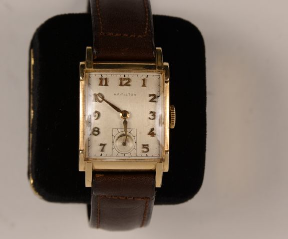 Gentlemans Gold Wristwatch Perry Model By The Hamilton
