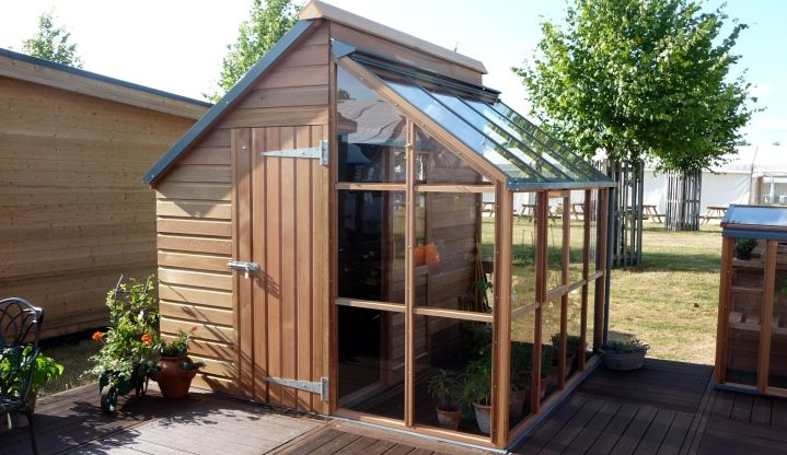 Half shed greenhouse green thumb pinterest Green house sheds