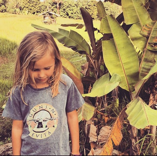 Tevita clothing / kids fashion / kids cute clothing / boys and girls unisex /  t-shirt / tee /guns and roses print / made in bali / cute girl with flowers / surf street style