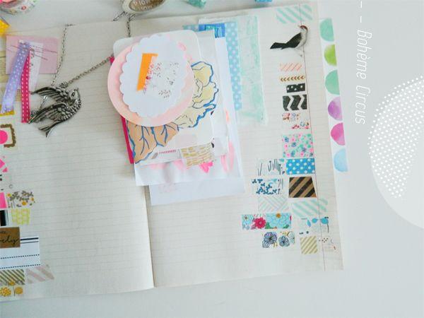 Washitape notes Collage & peinture /// Peinture et washitapes /// Mini books & couleurs
