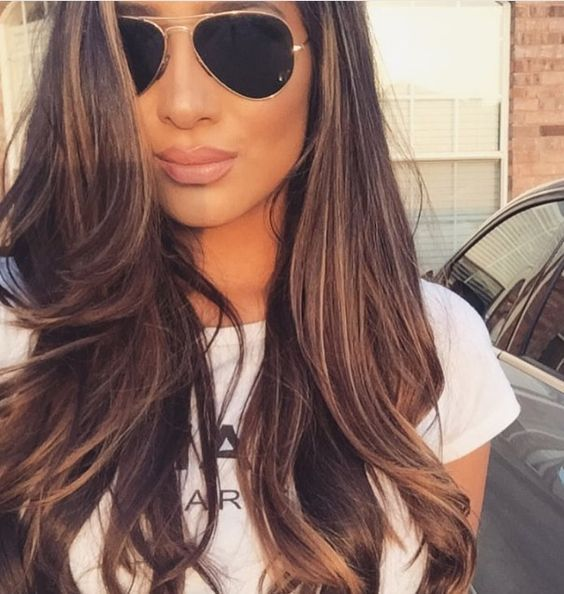 Chocolate brown hair with caramel highlights: