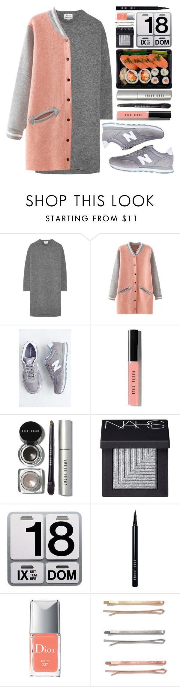 """""""#742 Kim"""" by blueberrylexie ❤ liked on Polyvore featuring Acne Studios, New Balance, Bobbi Brown Cosmetics, NARS Cosmetics, Danese, Christian Dior and Madewell"""