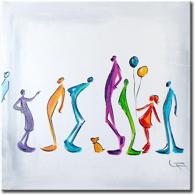 Prachtig wit helder canvasschilderij met een aantal abstract geschilderde figuren in aparte en moderne kleuren.