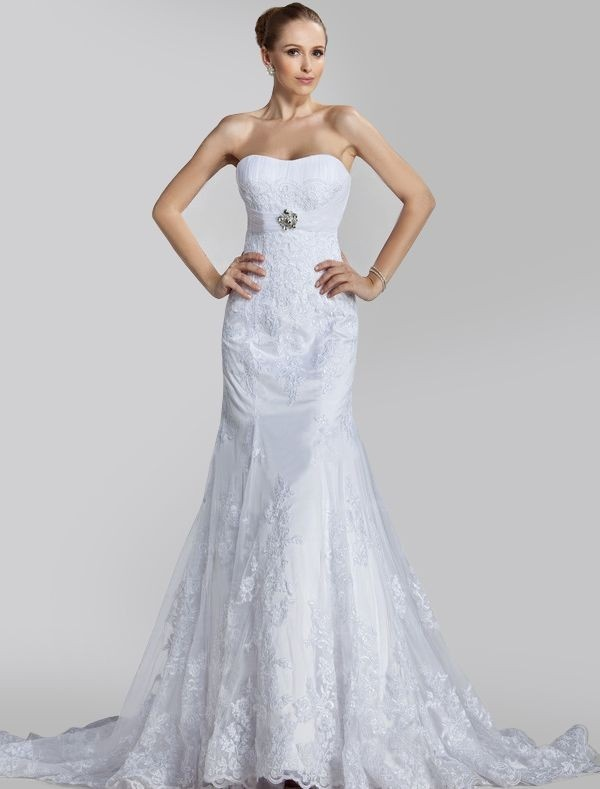 Lace Strapless Trumpet Wedding Dress With Beaded Motif Wd