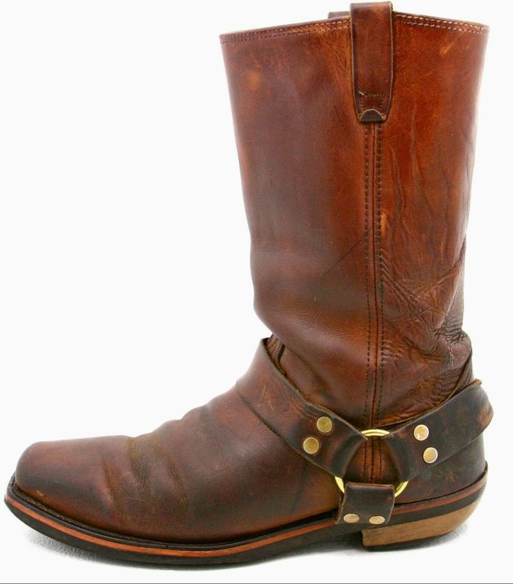 Mens Harness Motorcycle Biker Boots Size 10 EE Brown Vintage Leather Boot USA