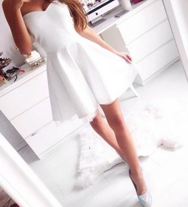 Cute Short White Homecoming Dress, Cute White Dresses, #homecomingdresses, #promdress