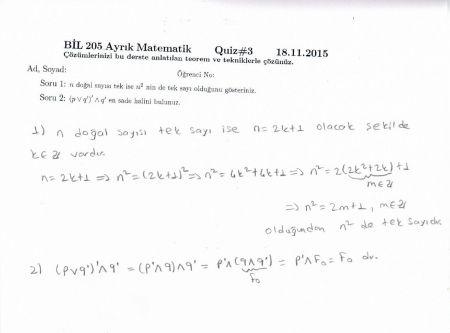 Ayrık Matematik Dersi 3. Quiz Soru ve Çözümleri