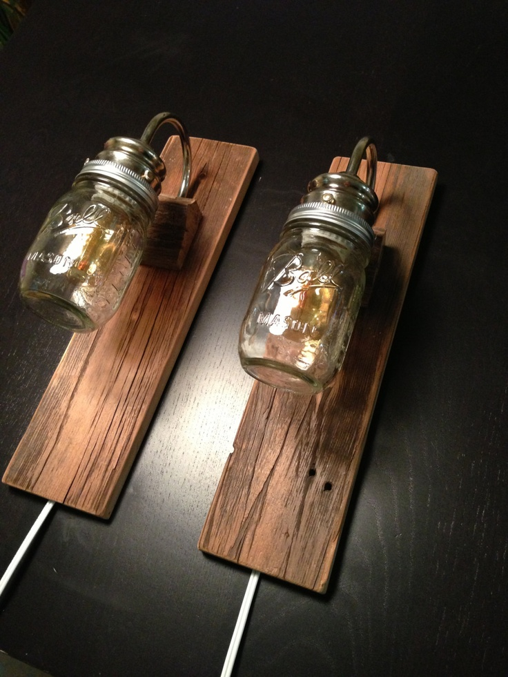 Bedside lamps made with reclaimed barn wood industrial lighting