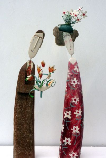 Lynn Muir - figures created from reclaimed wood and driftwood...