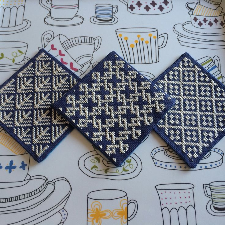 [my work] Kogin embroidery coasters. こぎん刺しコースター