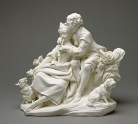 The Flute Lesson (Le Flûteur) (one of a pair), 1757-1766. Soft-paste biscuit porcelain. Modelled under the direction of Étienne-Maurice Falconet (French, 1716-1791) after engraved designs of François Boucher (French, 1703-1770). Gift of J. Paul Getty
