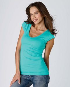 Cap sleeves give this Bella B8705 Women's Sheer Rib Cap Sleeve V-Neck T-Shirt a cool unencumbered look. Choose from 13 colors.