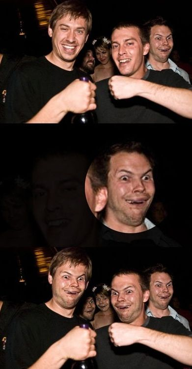 Photobomb + Face Swap ~  It's a bonus. my laugh was more embarrassing than this guy's face