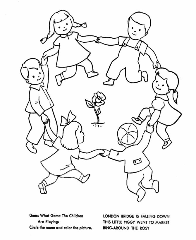 Nursery rhymes quiz coloring page sheets ring around the rosy mother goose