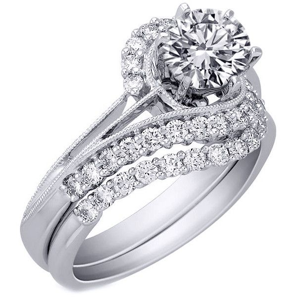 engagement ring swirl interlocking pave bridal set 063 tcw in 14k white gold - Interlocking Wedding Rings