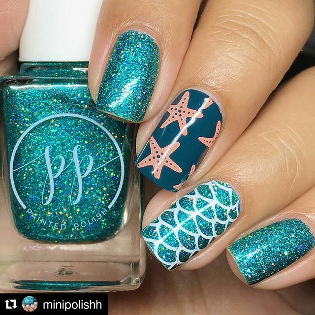 Stamping by @minipolishh with Curali 010 Summer • Trendy Plate ・・・ Siren…