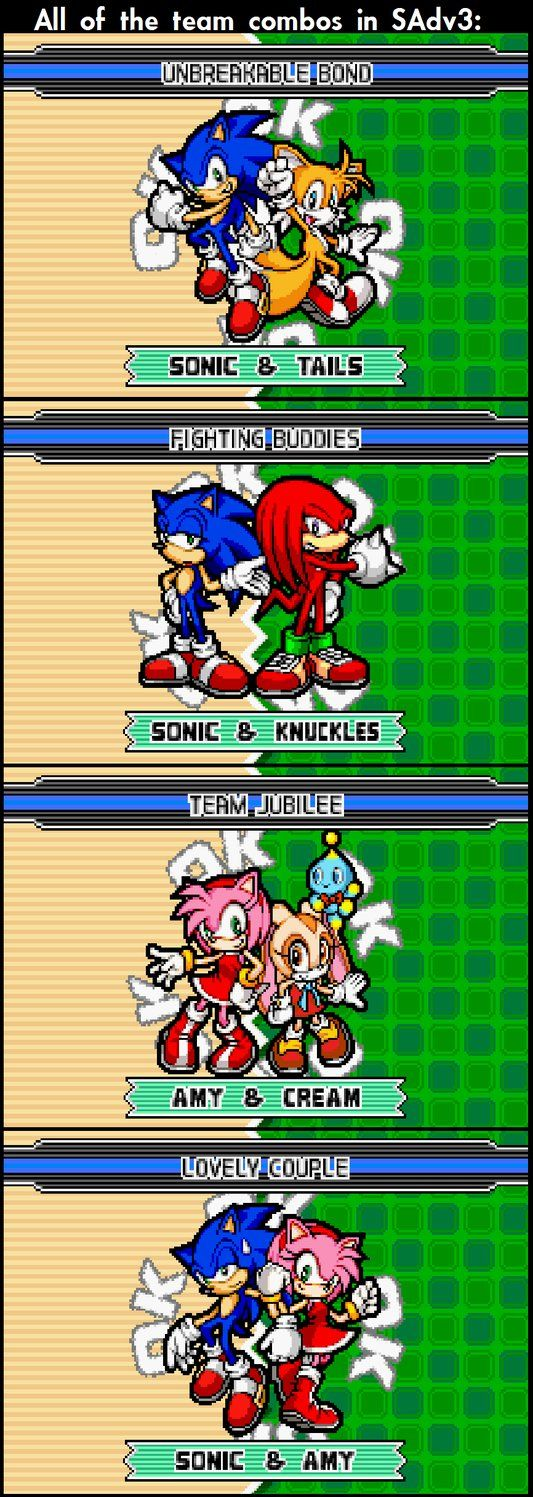 Sonic Advance 3: All Team Combos by KirbyKirbyKirby1992 - Look how annoyed Sonic is in the last one XD