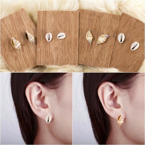 Shell Earrings Seashell Stud Ocean Beach Mermaid Earrings