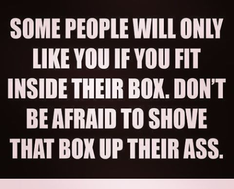WEBSTA @ sofil88 - Don't be afraid to disappoint just be yourself (basically fuck the box) 🖕🏻🙏😇......#fuckthebox #fucksociety #fucktherules #thinkoutofthebox #box #people #idontlikepeople #middlefingersup #controversial #beyourself #dontbeafraid #shovethatboxuptheirass #like4like #likeforlike #beyou #inspiration #positive #positivelife #liveyourlife #livebyyourownrules