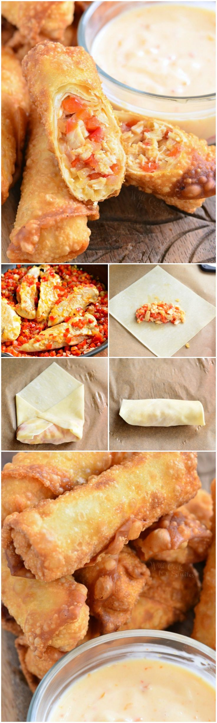 Sweet Chili Chicken Egg Rolls with Creamy Sweet Chili Sauce. Out-of-this-world-delicious egg rolls packed with beautiful sweet chili flavor!: