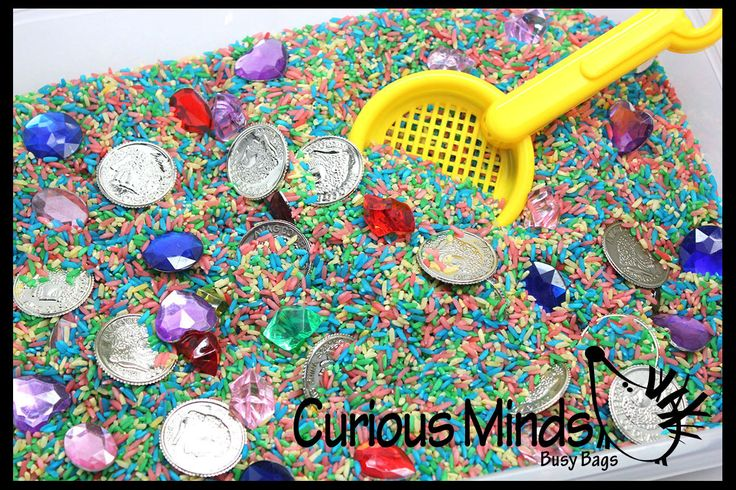 Treasure Hunt Sand Toy - Dig sift and find buried coins jewels and gems.  Sensory bin