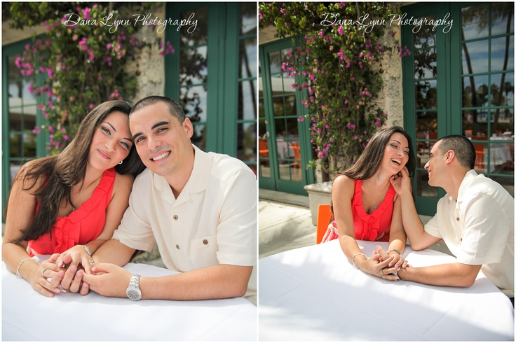 Out door engagement photography at Red Fish Grille in Coral Gables, FL. - Couple talking at table, cafe style shoot. - Dana Lynn Photography