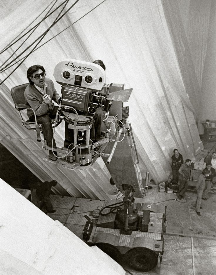 """Richard Donner filming """"Superman"""". Working on a scene from the Fortress Of Solitude."""