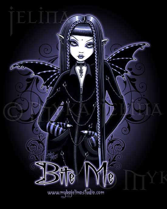 Dark+Fairy+Drawings   Gothic Blue Vampire Bite Me Fairy Art Print Mina 2