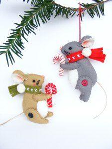 Christmas Mouse - felt Christmas ornament