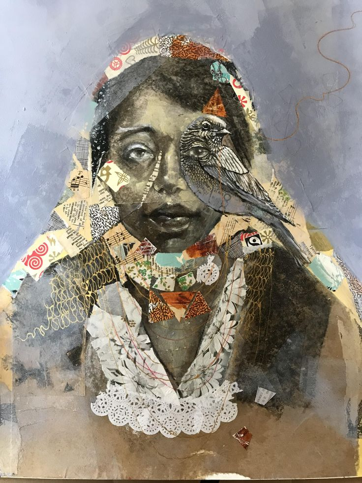 Fading Memories mixed media 18x24 Crayon art melted