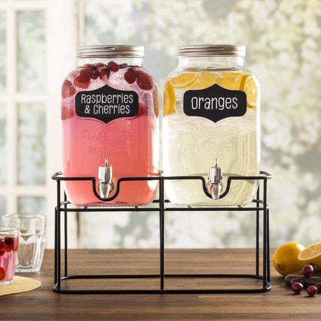 Perfect for parties, picnics and family gatherings, our Oldtyme Beverage Dispenser will make your next get together great! The two dispenser set lest you offer your guests different beverages and the convenient chalkboard tags make it easy to let everyone know what beverage each dispenser contains! Glass pitchers feature easy fill, wide mouth openings with a secure twist-on lid that prevents accidental spills and keeps out summertime pests.