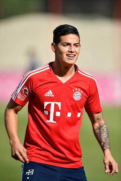 James Rodriguez of FC Bayern Muenchen smiles during a training session at Saebener Strasse training ground on July 12, 2017 in Munich, Germany.