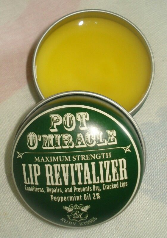 Dry Cracked Lips Be GONE!!! My go to lip balm/chap stick. Ruby Kisses Pot O'Miracle Lip Revitalizer with Peppermint Oil. Sinks into your lips doesn't just sit on top, really moisturizes and heals your lips . The bombbbb lip balm