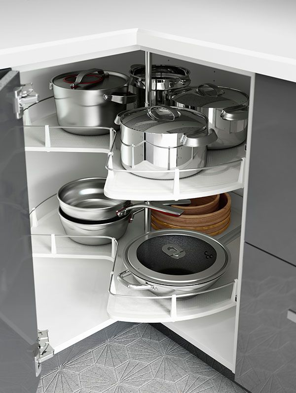 Small kitchen space? IKEA kitchen interior organizers, like corner cabinet  carousels, make use