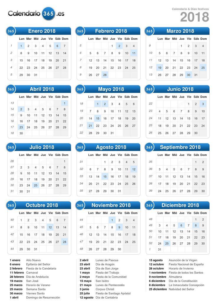 Calendario 2018 (formato vertical)