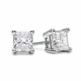 1-1/5 CT. T.W. Princess-Cut Diamond Solitaire Stud Earrings in 14K White Gold