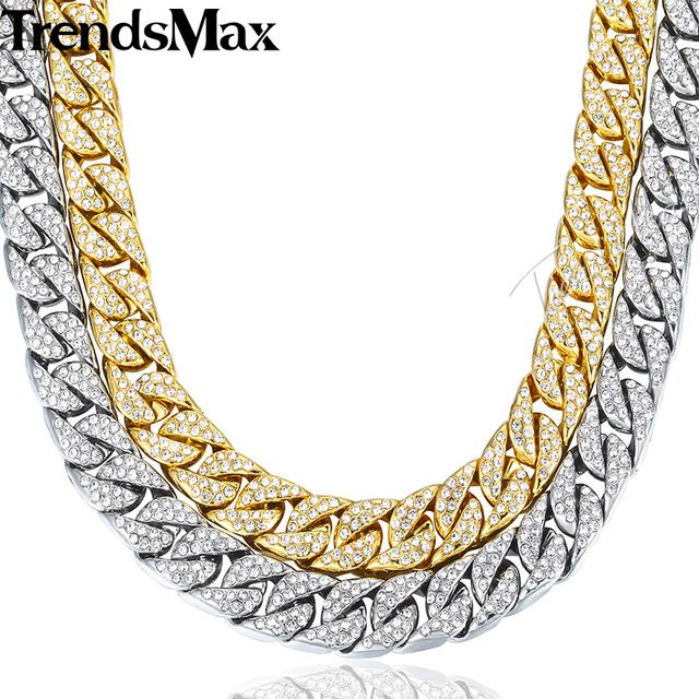 Sale $15.49, Buy 14mm 60cm Hiphop Bling Jewelry Necklace for Men Iced Out Miami Curb Cuban Link Chain Gold Silver Color CZ Rhinestones GN432