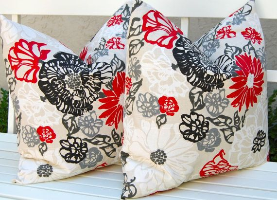 decorative pillows invigorate pillow covers 20 x 20 inches red black gray and white