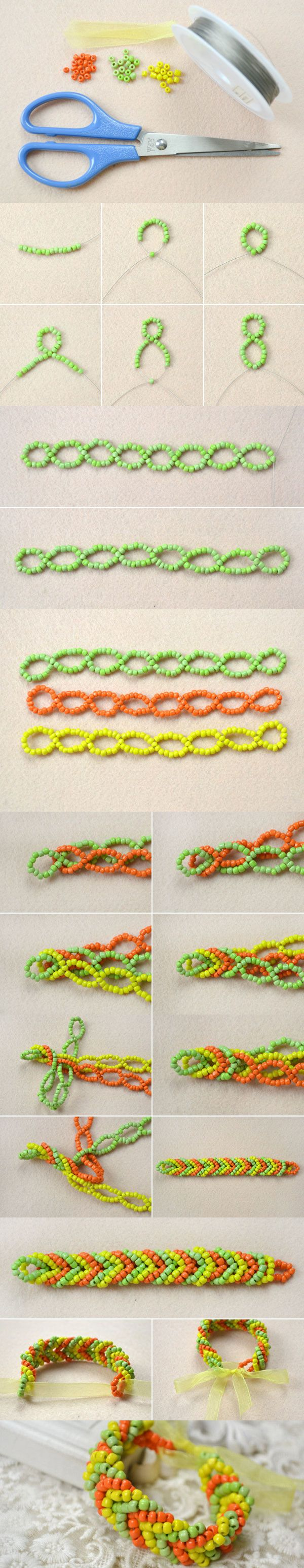 Tutorial on How to Make a Pony Bead Cuff Bracelet for Golden Autumn from LC.Pandahall.com      #pandahall
