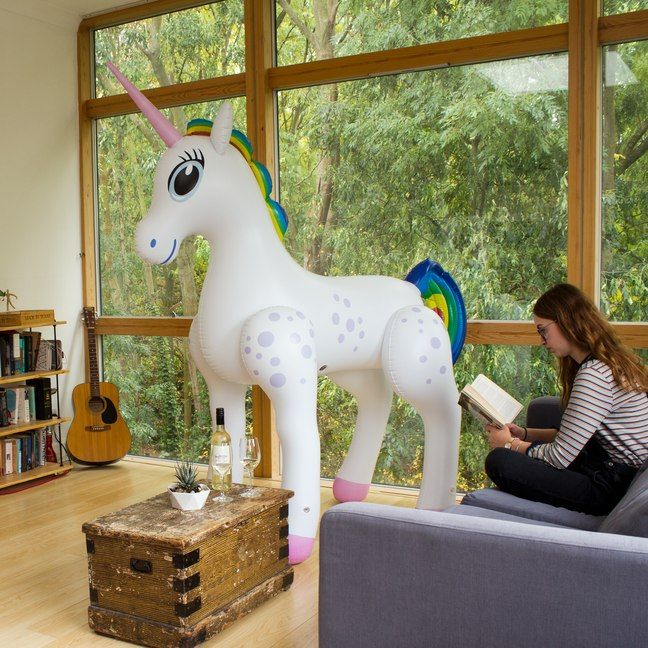 Be the person who turns up to the party with a Giant Inflatable Unicorn. A. Seven. Foot. Tall. Inflatable. Unicorn. Its the party accessory to eclipse all other