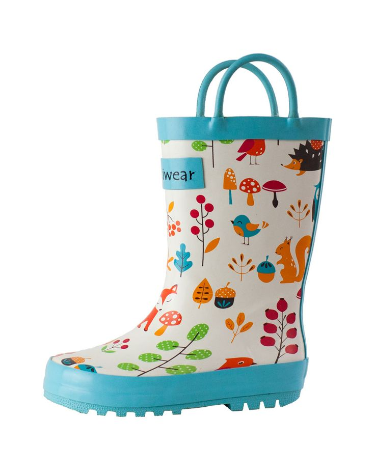 Children's Rubber Rain Boots, Forest Animals | Oakiwear - Rain Gear, Kids rain suits, kids waders, kids rain gear, and kids rain coats