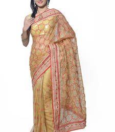 Buy Beige color Designer Embroidered Saree With Unstiched Blouse designer-embroidered-saree online