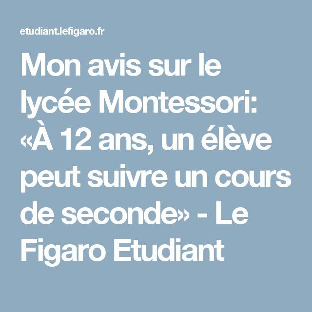 Mon avis sur le lycée Montessori: «À 12 ans, un élève peut suivre un cours de seconde» - Le Figaro Etudiant