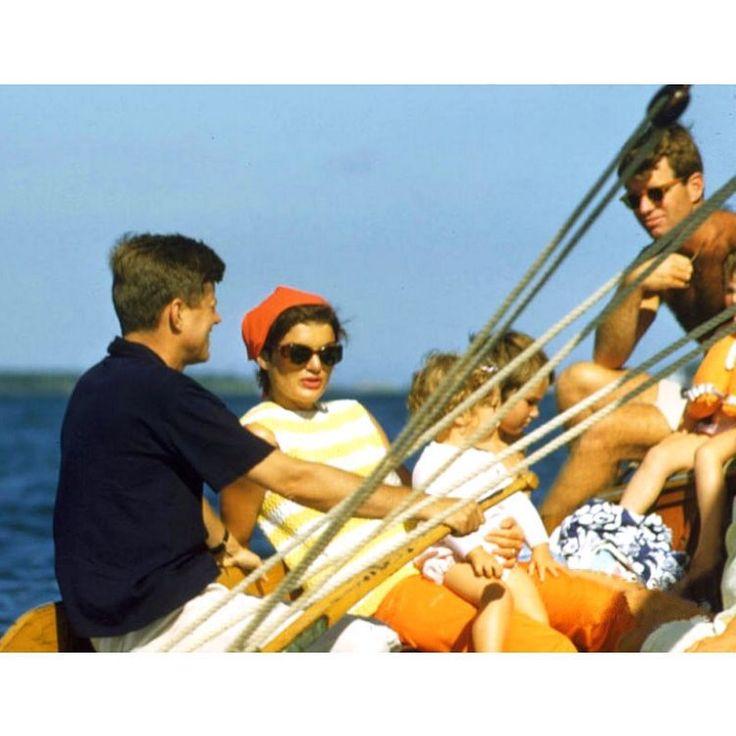 Senator John Kennedy, Jacqueline Kennedy (holding Caroline), Bobby Kennedy Jr., and Bobby Kennedy go sailing in Hyannis Port, 1959