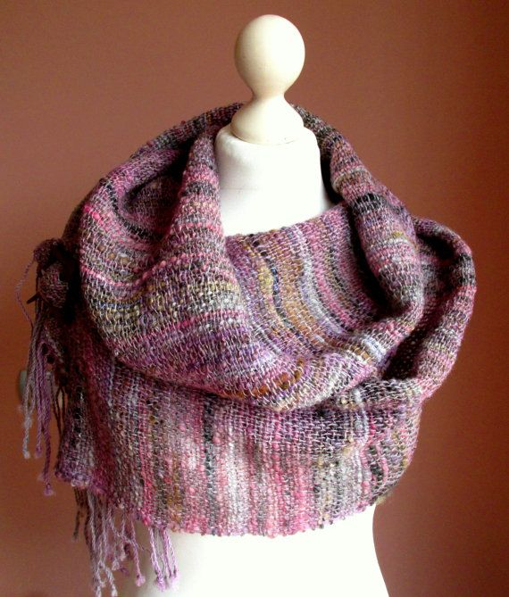 Handwoven wool scarf made of handspun art yarn. Elegant women's shawl in soft rose shades.Natural wool and silk shawl.