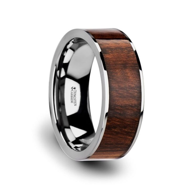 THRACO Flat Carpathian Wood Inlaid Tungsten Carbide Ring with Polished Edges - 8mm